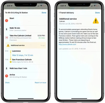 real-time notifications of traffic information in iOS 13