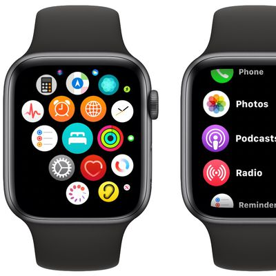 apple watch list grid view