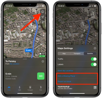 how to send feedback about errors in apple maps