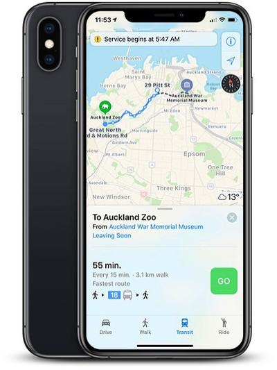 apple maps transit new zealand