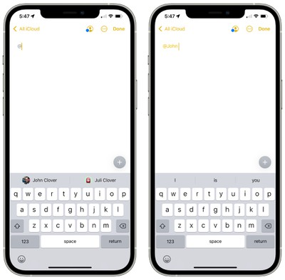 ios 15 notes mentions