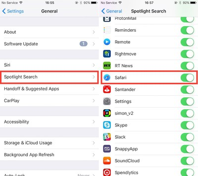 Spotlight Safari iOS