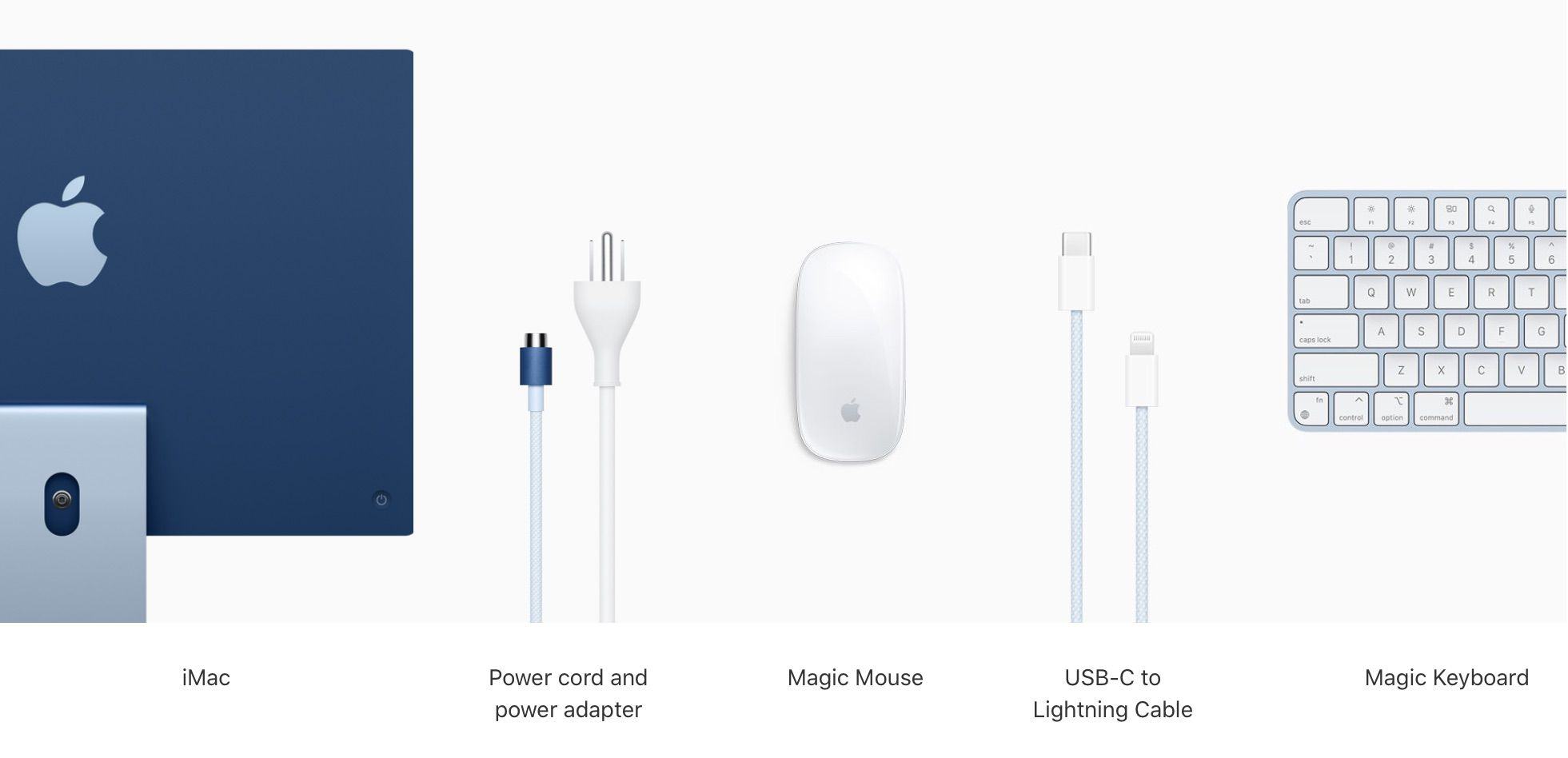 Apple's Bright New iMacs Come With Color-Matched Magic Keyboard Magic Mouse Power Cord and USB-C Cable – MacRumors