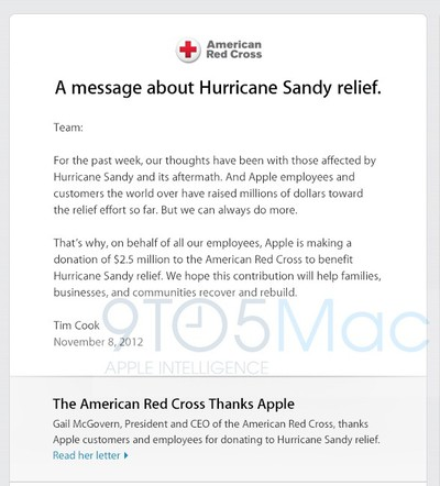 apple hurricane sandy donation
