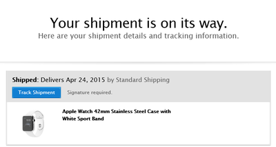 apple watch shipment