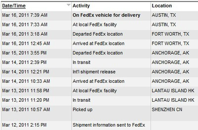 133853 ipad 2 delivery tracking