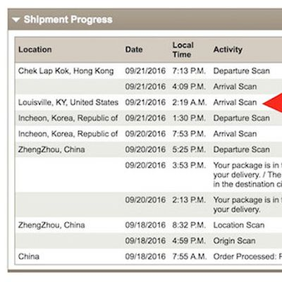 iPhone 7 UPS tracking
