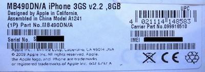 102810 iphone 3gs 8gb label