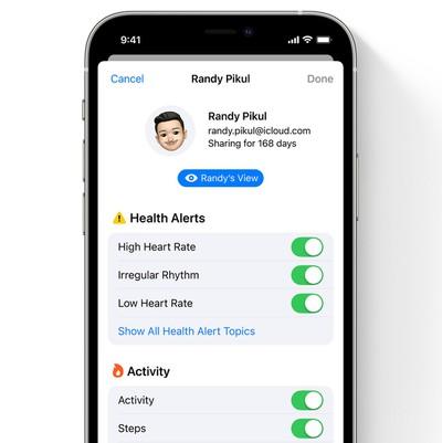 ios 15 health app shared data options