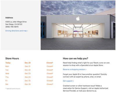 apple store closure california