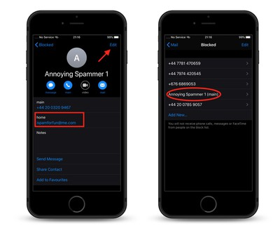 how to block email spammers in ios 13