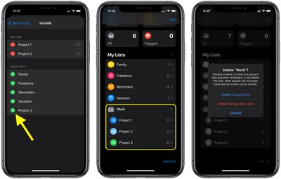how to create reminders group ios 2