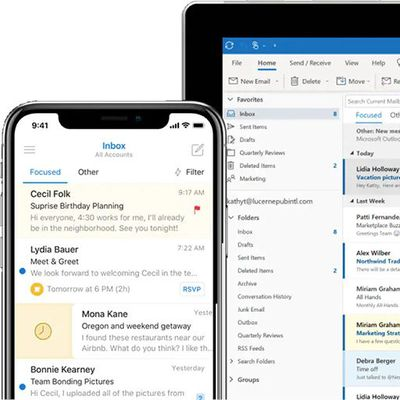 outlook iphone tablet