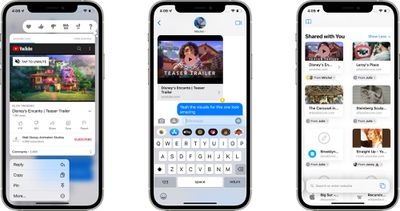 messages app shared with you pin