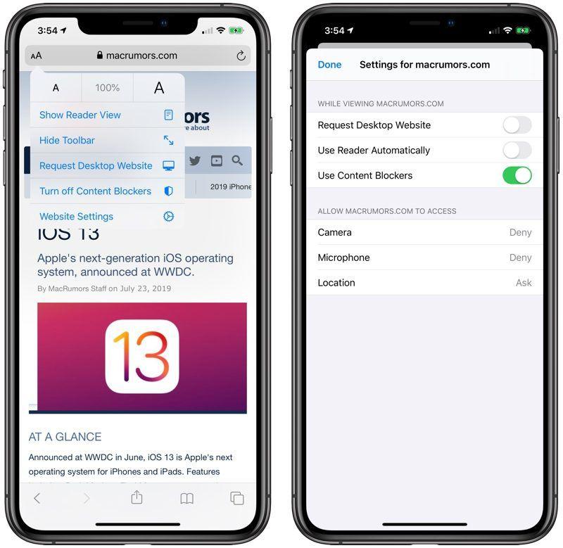 safari view menu in iOS 13