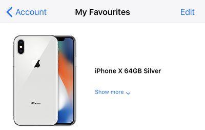 iphone x fav tab