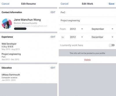 facebook resume test