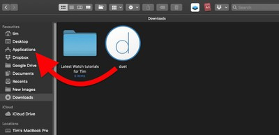 drag Duet client to applications folder