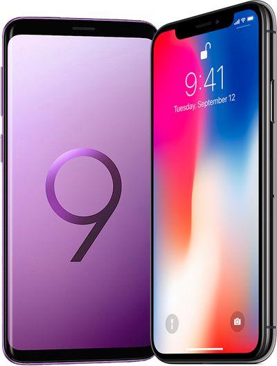 galaxy s9 iphone x