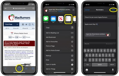 how to add notes and URLs to reminders in iOS 3