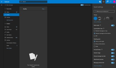 outlook dark mode