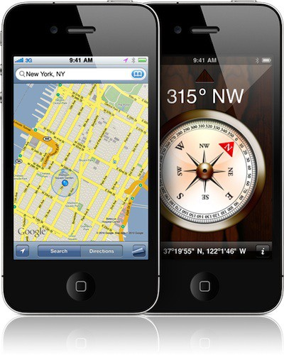 iphone 4 maps compass