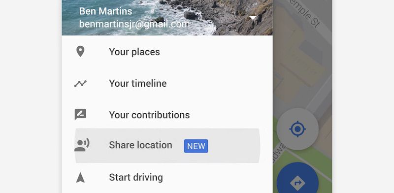 how to send my location from google maps