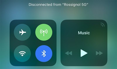 bluetooth wifi control center ios 11